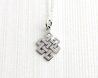 Sterling Silver Endless Knot Necklace, Eternal Knot Necklace, Endless Knot Pendant, Endless Knot Charm, Buddhist Knot Necklace