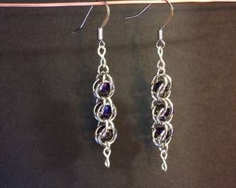 Chainmaille and glass bead earrings