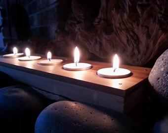 Modern Centerpiece Votive, Farmhouse Tea Light, Rectangle Candle Holder, Wooden Tealight Tray