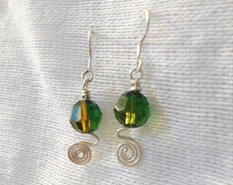 Swarovski crystal earrings Green-Topaz - Silver wire | boucle d'oreille cristal Swarovski Vert-Topaz - Fil d'argent