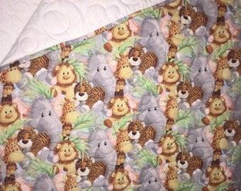 Jungle Animal Homemade Baby Quilt