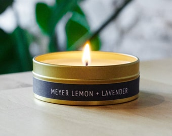 4oz Meyer Lemon + Lavender Gold Travel Tin Scented Soy Candle