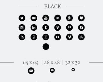 Social Media Icons // Social Media Buttons // Black Social Icons