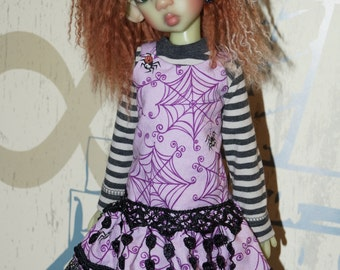 Purple n spiders - dress  By 2snsb fits Kaye Wiggs MSD size such as Thalessa, MIKI, Layla