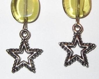 Antique Star Silver Dangle Earrings