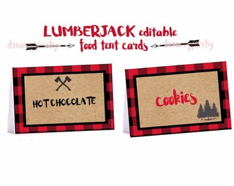 Lumberjack Food Tent Cards, Editable Lumberjack food labels, Lumberjack decorations, Lumberjack baby shower, Birthday, Digital File.