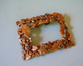 Vintage Musi Goldtone Shoe Clip Ornate Square Shoe Clip Floral Embossed Clip