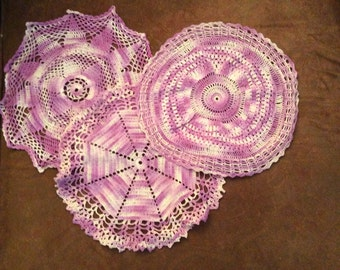 Three purple and white doilies, vintage doilies, doily