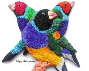 OOAK Gouldians finches sculpture, fridge magnet or ornament - customer choice. Finches made of polymer clay