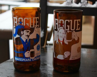 Set of 2 Rogue Ales beer upcycled drinking glasses