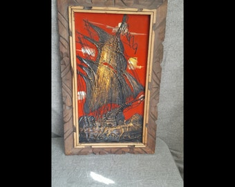 Vintage Velour Ship Painting