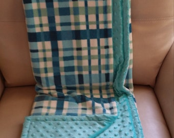 Reversible Minky Blanket, Sofa Throw, Blue Plaid - Adult/Teen - Size 51 X 61 in.