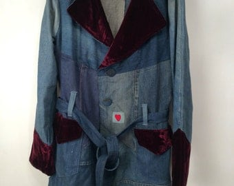 Handmade 1970s Denim Belted Jacket Sz XL vintage jacket vintage clothing handmade clothing vintage handmade clothing