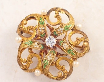 14K Yellow Gold Diamond, Pearl and Enamel Antique Brooch