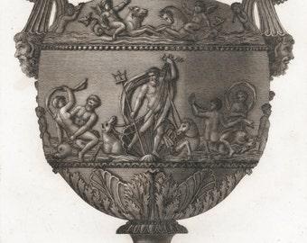 Roman Vase w/ Neptune & Sea Creatures