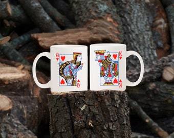 His Hers Coffee Mugs, King of Hearts and Queen of Hearts / Valentine's gift, newlyweds, anniversary
