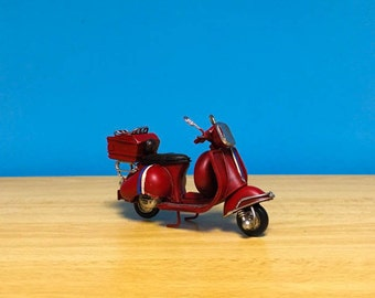 Red vespa scooter,miniature,handmade decorative collectible miniature,dollhouse miniature,toy scooter vespa,metal vespa,retro