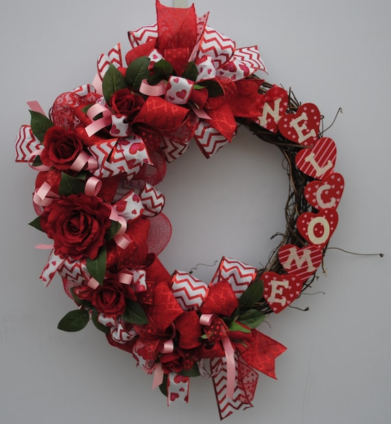 This Adorable Valentines Grapevine Wreath Is Sure To Add A Classic Touch To Your  Front Door. This Handmade Valentines Welcome Wreath Is Created With A ...