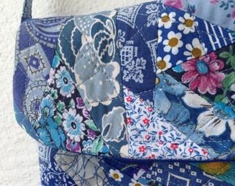 """Handmade purse in """"crazy"""" quilting pattern in indigo blue"""