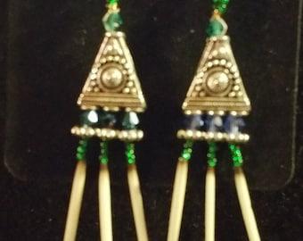Green Triple Quill Earrings