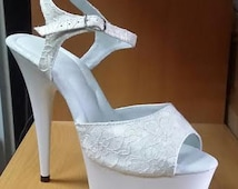 Custom Wedding Shoes White Lace Shoe Fabric Bridal Sandals High Heel 6 inch Sexy Very Comfortable Sizes 4-12 Different Heel Height available