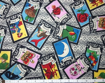 LOTERIA Fabric Fat Quarter, FQ, by the Yard, Mexican Lottery Mermaid Fabric Mexican Art Folklore Mermaid Tarot Like Cards, Rockabilly Fabric