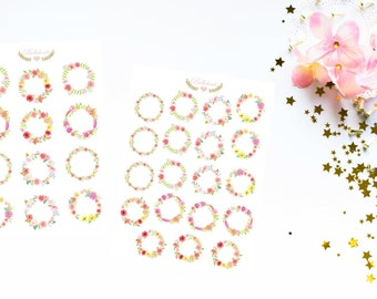 Flower wreath sticker