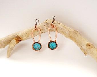 Copper drop earrings Patina earrings Dangle drop earrings Flower girl earrings Love gift earrings Copper earring Patina jewelry Gift for her
