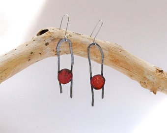 Steel earrings Metal dangle earrings Long red earrings Metal work Free style jewelry Red  earrings Gift for her earrings steel metal work