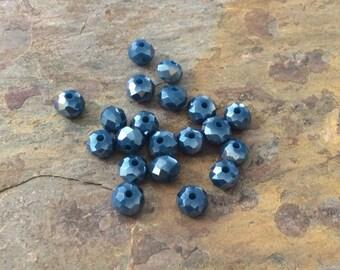 50 Blue Czech Glass Rondelle Beads 4x3mm