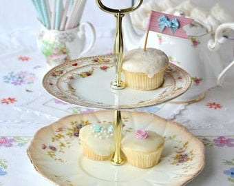 Early English bone china 2 tier dessert stand/  cupcake / cake stand, lovely vintage hand painted china creating this pretty tiered stand.