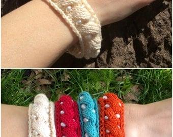 Wedding bracelet cotton bracelet freshwater pearl bracelet knitted bracelet knit bracelet gift for womens bracelet jewelry bridal bracelet