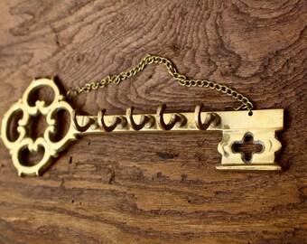 Vintage Brass Key Rack