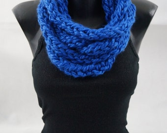 Handmade Kids Cowl DENIM Colored Royal Blue Infinity Knitted Scarf