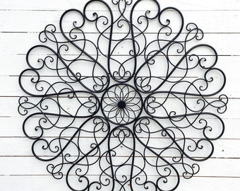 Ornate Metal Wall Art Scroll Decor, Home & Garden,Living Room, Round Circle Decor,, Accents, Wall Hangings, Silver, Improvement, Furnishings