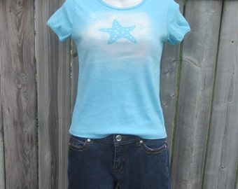 Starfish - Ocean themed Upcycled Bleached Shirt, size Small