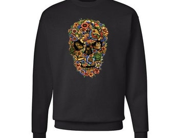 Floral Skull Sweatshirt Colorful Hipster Sweater