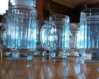 a Set of 6  -  12 Oz. Pressed Glass Jelly Jar Glasses .