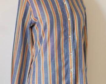 RARE 70s Levi's for Gals blue orange striped shirt