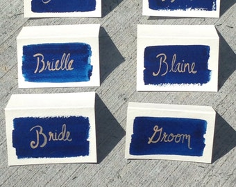 Midnight Blue & Champagne Place Cards