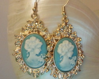 """Earrings """"Versailles Cameo"""" gold and turquoise """"french style"""""""