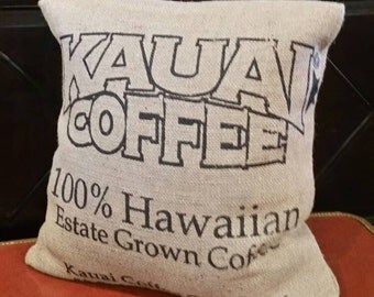 Kauai Coffee Bag burlap down pillow upcylced Free Shipping