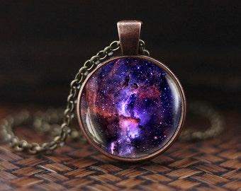Violet Nebula Pendant, Violet Nebula necklace, Space necklace, Galaxy Jewelry, Nebula necklace, Violet necklace, Violet Space Pendant