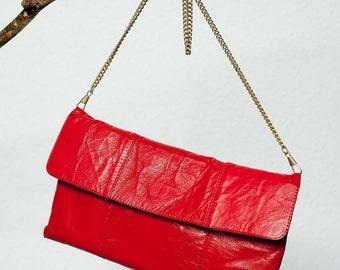 80's R.K. Leather Red Envelope Clutch Bag