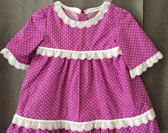 Rose polka dot long sleeve dress.