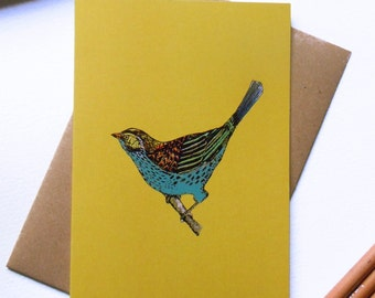 Birthday  Card - Happy Birthday - Greeting card - Bird Card - Thank You - designed and printed in the UK
