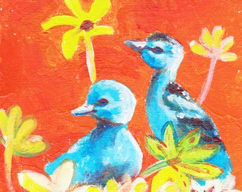 Blue ducklings handmade original acrylic painting, nursery art, nursery decor, child playroom art, child room art, art for children