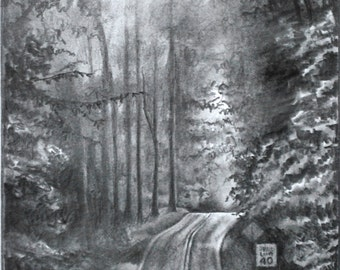 Back roads of Pennsylvania - Signed Giclee Print of Pencil Drawing