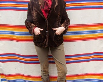 Vintage 90s Woman's Brown Crushed Velour Long Sleeve Button Down Blazer with Pockets
