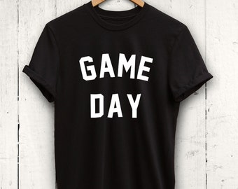Game Day Tshirt, Mens Game Day Tee, Womens Game Day Shirt, Black Game Day Top, Sports Shirt, Sports Mom Shirt